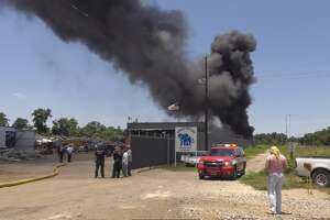 No injuries have been reported at a large fire at a recycling plant in Houston, according to authorities.    The fire was first reported around 1 p.m. at Elephant Recycling in the 7500 block of Lawndale.