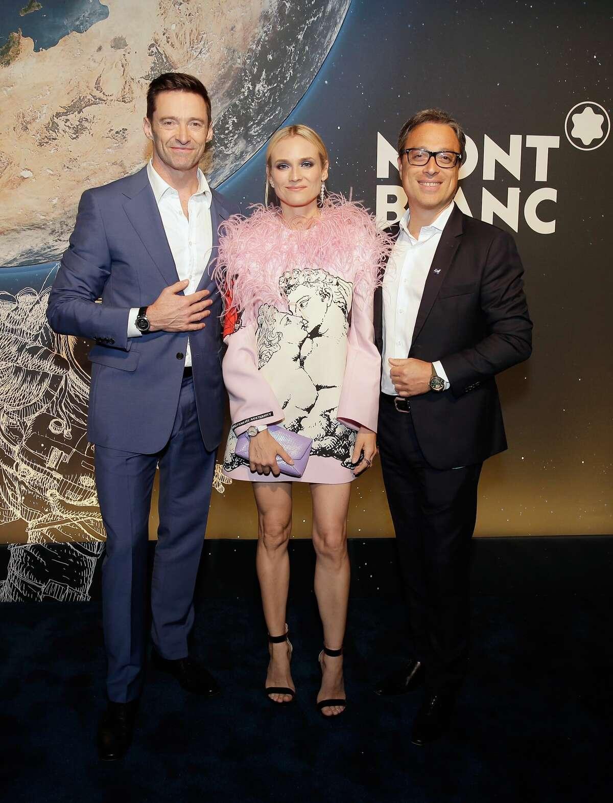 Hugh Jackman, Diane Kruger, Montblanc executive CEO Nicolas Baretzki