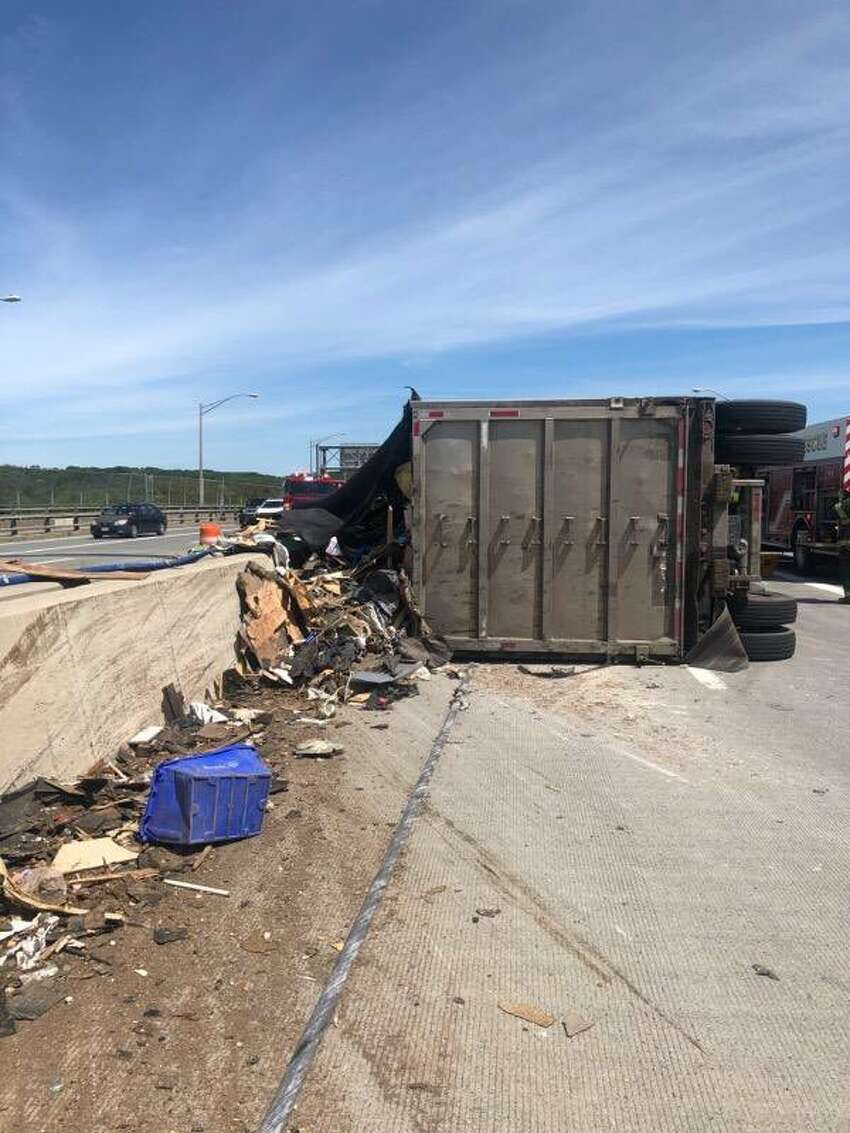 Albany Police displayed an image on Twitter of a tractor-trailer rollover on the Albany side of the Dunn Memorial Bridge. Crews from the Albany police and fire departments and State Police responded.
