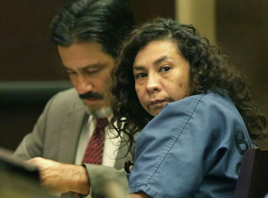 Angie Torres looks toward her family member as she appears in the 227th District Court on June, 3, 2019. Torres is accused of helping stage the kidnapping of 8-month-old King Jay Davila with Christopher Davila, who is Torres' cousin. King Jay was later found dead and Davila is charged in that crime. Photo: Bob Owen /Staff Photographer / ©2019 San Antonio Express-News