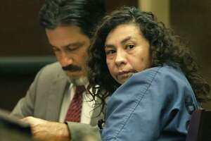 Angie Torres looks toward her family member as she appears in the 227th District Court on June, 3, 2019. Torres is accused of helping stage the kidnapping of 8-month-old King Jay Davila with Christopher Davila, who is Torres' cousin. King Jay was later found dead and Davila is charged in that crime.