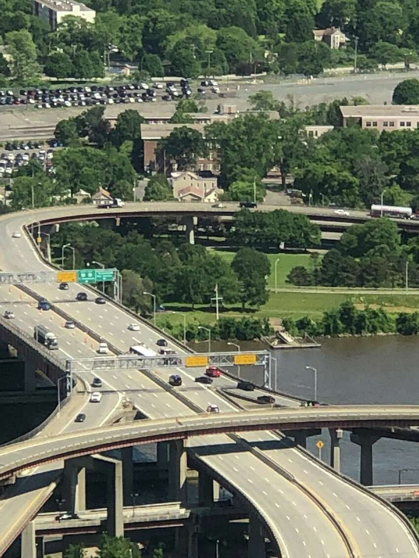 A tractor-trailer rolled over on the Albany side of the Dunn Memorial Bridge, causing delays in traffic, on Wednesday, June 12, 2019. (Phoebe Sheehan /Times Union)