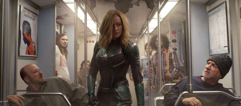 "This image released by Disney-Marvel Studios shows Brie Larson in a scene from ""Captain Marvel."" Marvel's ""Captain Marvel,"" the superhero factory's first movie fronted solely by a female hero, last weekend notched the sixth largest global opening ever and in five days of release has already sold $524.1 million tickets worldwide. (Disney-Marvel Studios via AP) Photo: Associated Press / Disney-Marvel Studios"