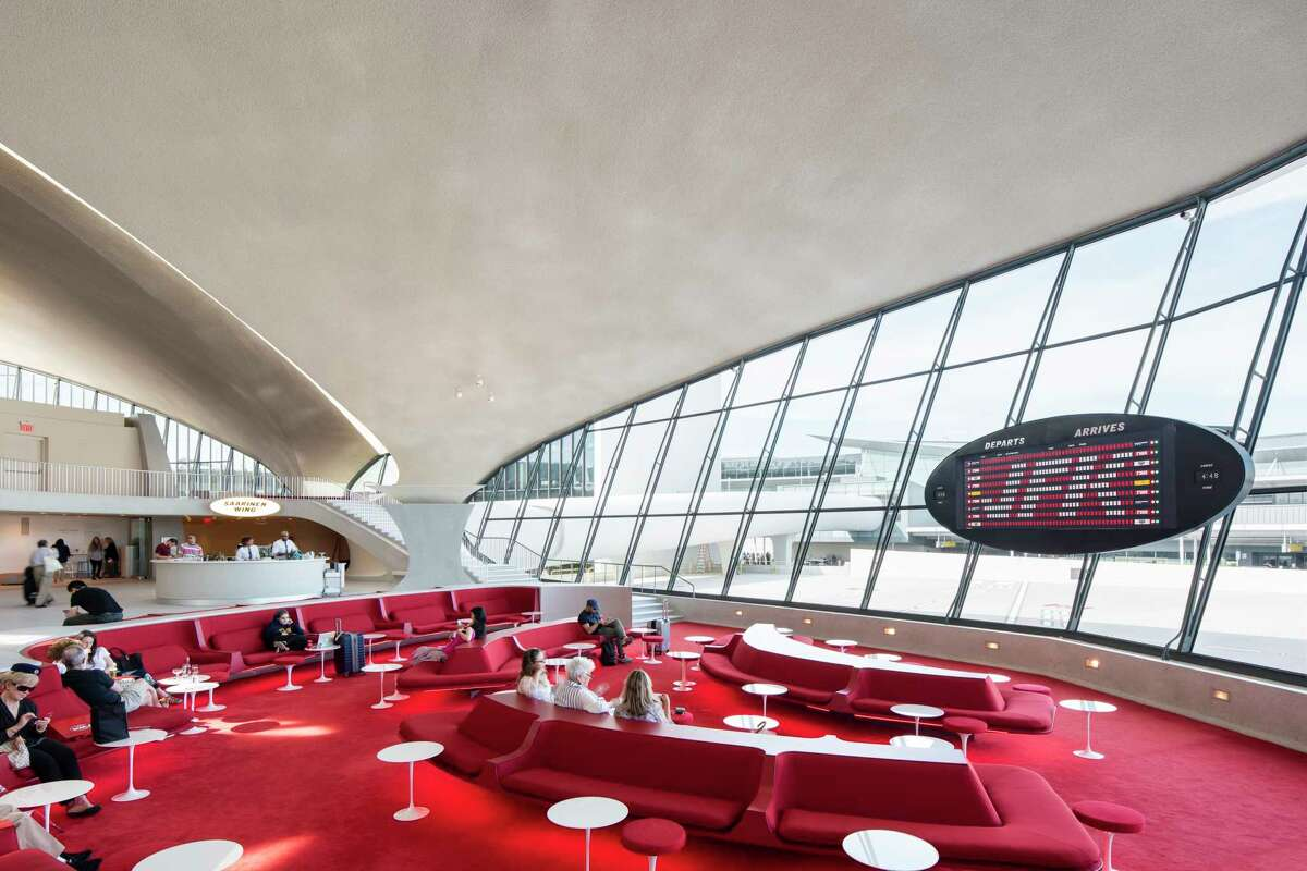 The Sunken Lounge at the TWA Hotel includes a split flat departures board by Solari di Udine.
