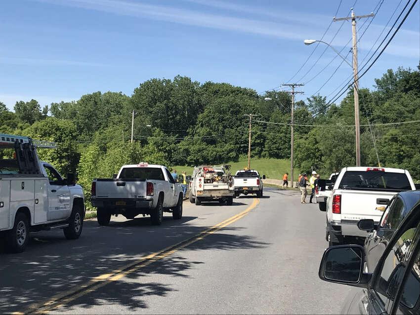 Troy officials respond to a water man break Wednesday June 12, 2019 on Oakwood Avenue.