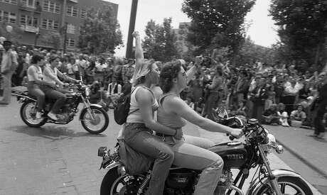 Motorcyclists at the Gay Freedom Day Parade on June 29, 1980. Photo: John Storey / The Chronicle 1980