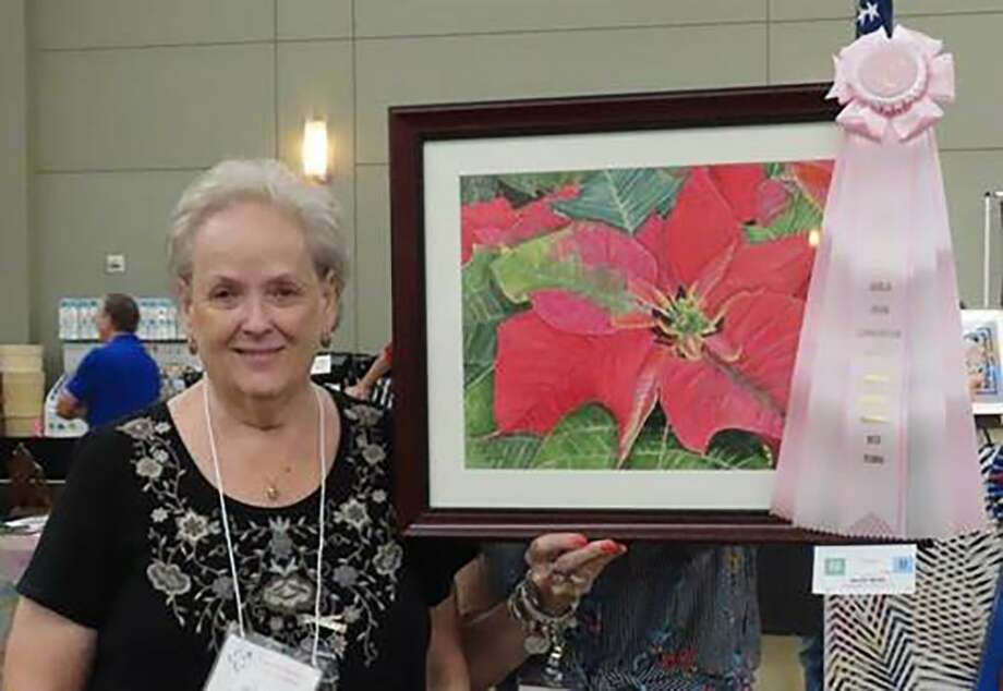 "2019 LSAG Convention Best Floral, watercolor ""Poinsettia,"" by Shelia Webb of the Brenham Fine Arts League. This ribbon has been been awarded by LSAG for 55 years. Photo: Courtesy Photo"