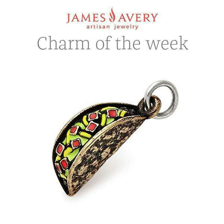 "James Avery Artisan Jewelry promoted the new product, a bronze tortilla shell stuffed with enameled veggies, as the ""Charm of the Week."" Photo: James Avery Artisan Jewelry"