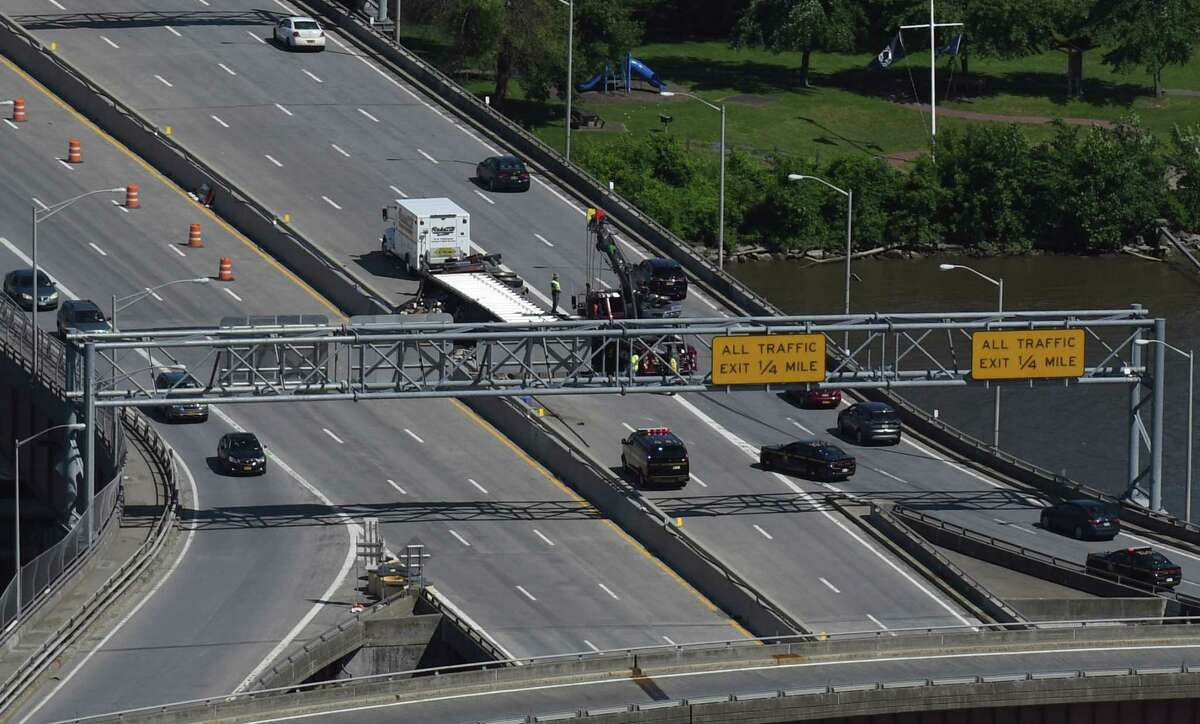 The New York State Department of Transportation says it will install new signs on the Dunn Memorial Bridge. (Phoebe Sheehan/Times Union)