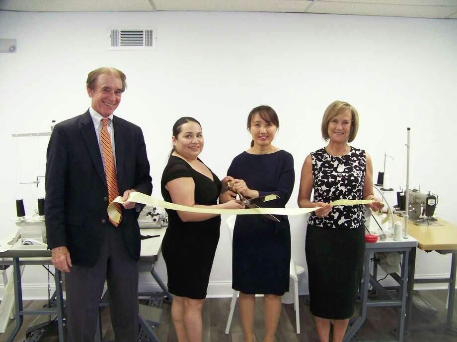 SEW GOOD: From left, Wallingford Mayor William Dickinson, owner Manuela D'Orlando, owner Chong Kim and Quinnipiac Chamber of Commerce Executive Director Dee Prior-Nesti celebrate the grand opening of Kimmel Stitches, 69 N. Turnpike Road, Suite 1, May 28. The new tailoring, alterations and upholstery shop alters clothing, including formal attire and uniforms; custom sew and repair pillows, drapes and shades; and even reupholster furniture. Visit them on the web at www.kimmelstitches.com. Photo: Contributed Photo /