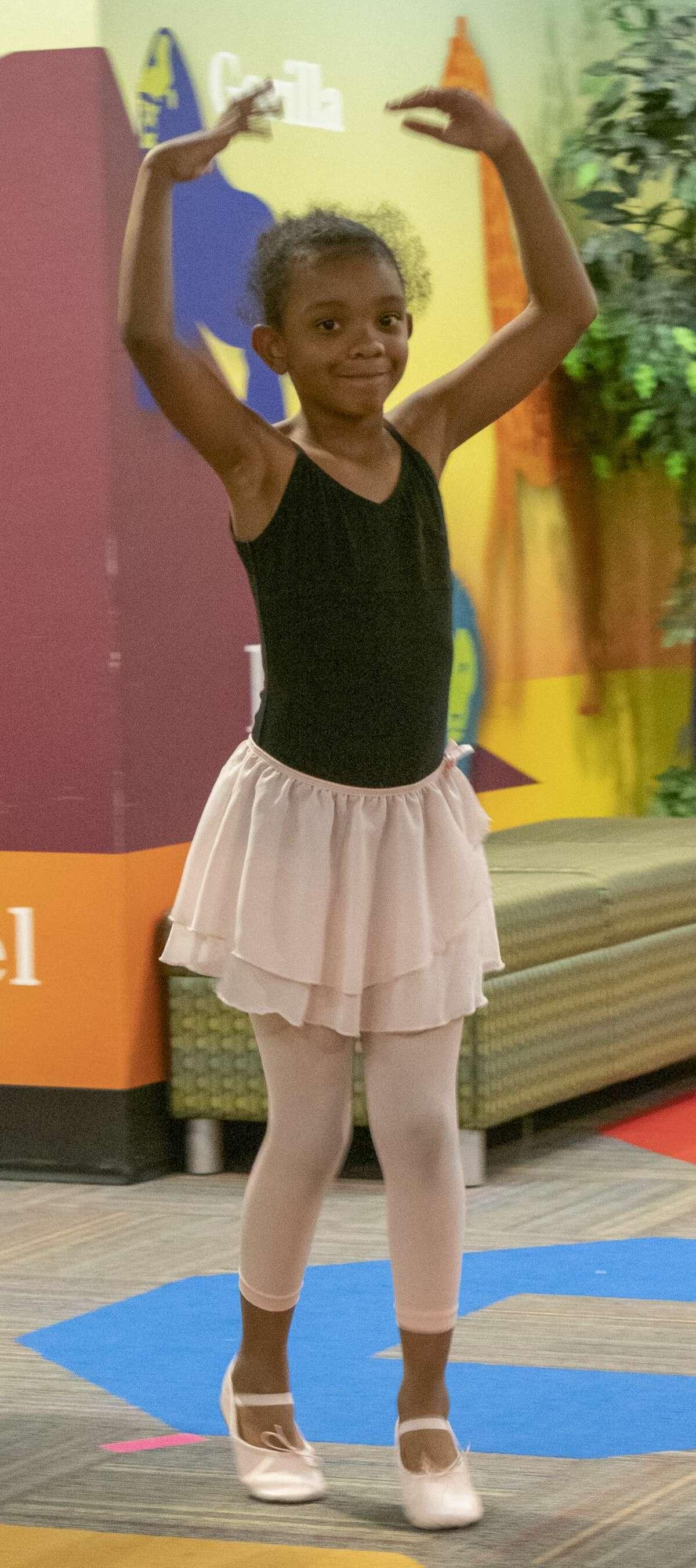 Coco practices her ballerina walk 06/12/19 during Princess Ballet Campat Midland Centennial Library put on by Midland Festival Ballet. Tim Fischer/Reporter-Telegram
