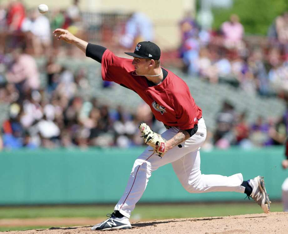 Tri-City ValleyCats pitcher Jayson Schroeder winds up for a pitch during an exhibition game against the Albany Dutchmen on Wednesday, June 12, 2019 at Bruno Stadium in Troy, NY. (Phoebe Sheehan/Times Union) Photo: Phoebe Sheehan, Albany Times Union / 40047105A