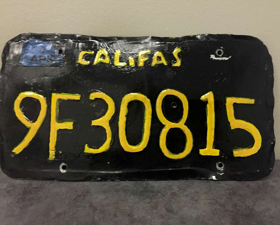 This undated photo provided by the Ventura County Sheriff's Department shows a phony license plate that was spotted by a motorcycle officer on a tractor-trailer in Moorpark, Calif., northwest of Los Angeles. The Ventura County Sheriff's Department said Monday, June 10, 2019, that the driver was arrested and the truck was towed away because it was unsafe. (Ventura County Sheriff's Department via AP) Photo: Associated Press