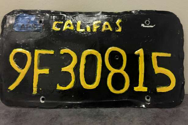 This undated photo provided by the Ventura County Sheriff's Department shows a phony license plate that was spotted by a motorcycle officer on a tractor-trailer in Moorpark, Calif., northwest of Los Angeles. The Ventura County Sheriff's Department said Monday, June 10, 2019, that the driver was arrested and the truck was towed away because it was unsafe. (Ventura County Sheriff's Department via AP)