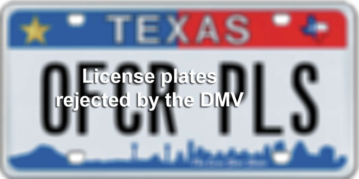 License plates rejected by the DMV.