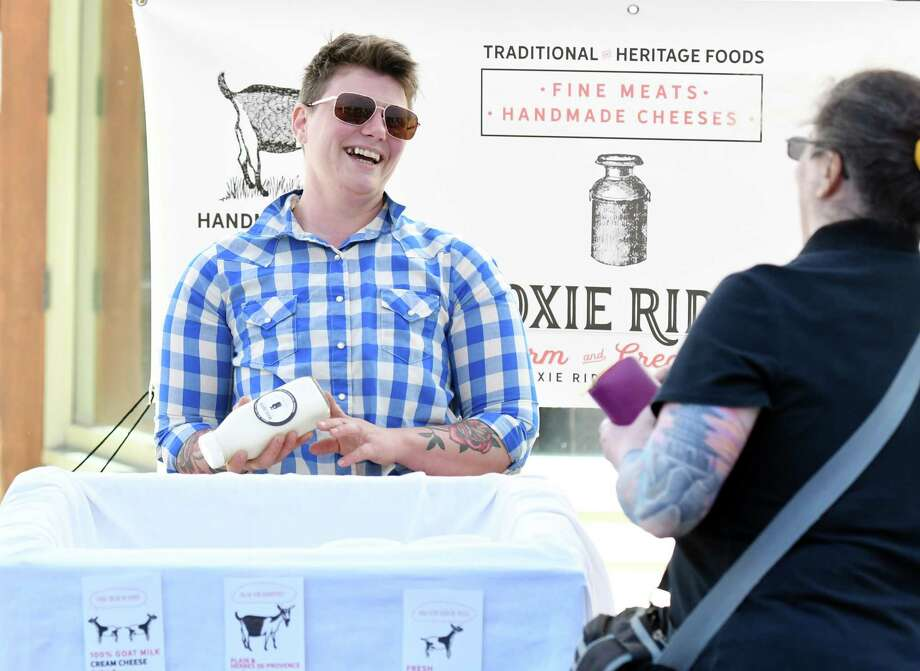 Moxie Ridge Creamery owner Lee Hennessy at his booth on Saturday, June 8, 2019 at the Troy Farmers Market in Troy, NY. (Phoebe Sheehan/Times Union) Photo: Phoebe Sheehan / 40047178A