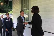 Gov. Ned Lamont talked with the Fairfield business community Wednesday at the Brooklawn Country Club.