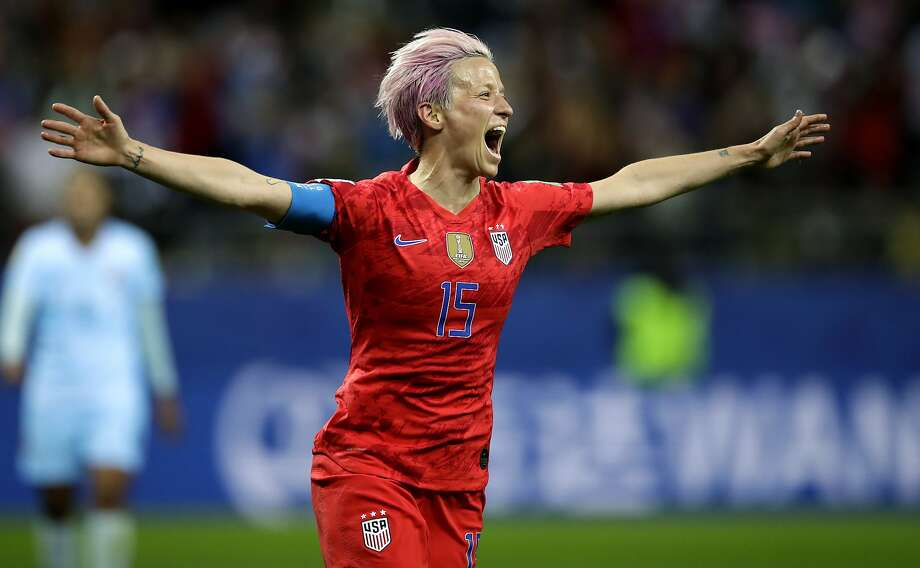 The American Megan Rapinoe celebrated her ninth goal on Tuesday, June 1[ads1]1, 2019 at the Stade Auguste-Delaune in Reims, France during the women's World Cup Group F football match between the USA and Thailand for Eight by Eight Magazine celebrating it after the ninth goal of their team during the F Women's World Cup Women's World Cup between the United States and Thailand at the Stade Auguste-Delaune in Reims, France, Tuesday, 11th of the United States Megan Rapinoe
