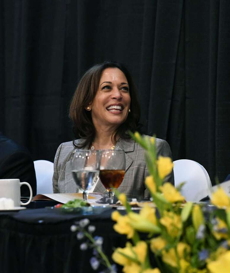 Democratic presidential candidate Kamala Harris smiles before giving a keynote address at a banquet for the NAACP,  Saturday, June 8, 2019 in West Columbia, S.C. (AP Photo/Meg Kinnard). Click through the gallery for facts about Harris. Photo: Meg Kinnard, Associated Press
