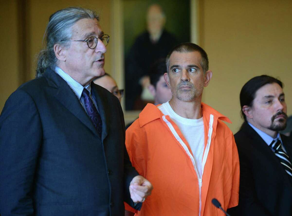 Fotis Dulos and his legal team including Norm Pattis, left, appeal bond in his appearance for tampering with evidence and hindering the investigation into the disappearance of his wife Jennifer Dulos at Stamford Superior Court Tuesday, June 11, 2019 in Stamford, Conn.