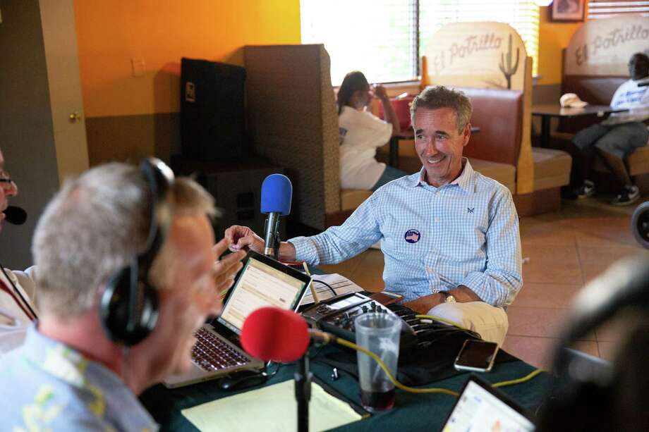Virginia Senate candidate Joe Morrissey talks with John Fredericks for his online radio show at Plaza Mexico Mexican Restaurant in Petersburg, Virginia, on Tuesday, June 11, 2019. Photo: Photo For The Washington Post By Parker Michels-Boyce. / Parker Michels-Boyce
