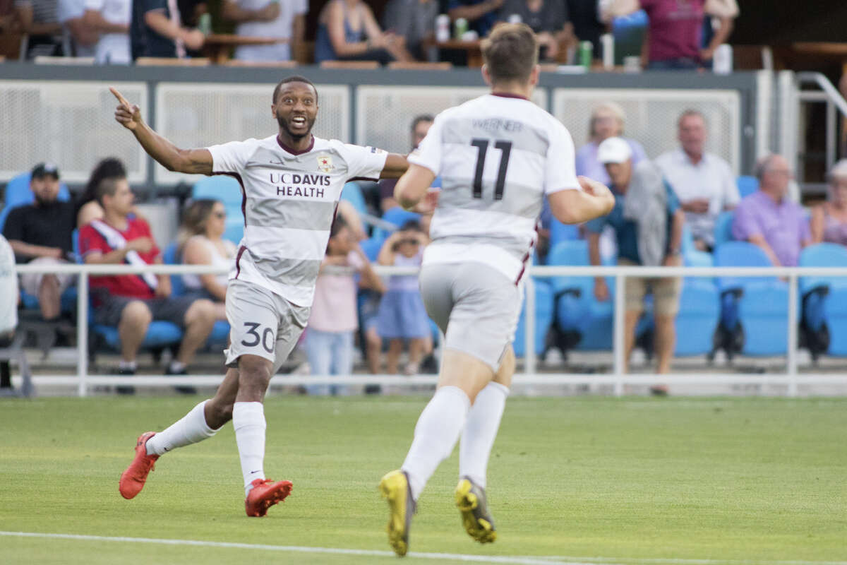 Sacramento's Jordan McCrary (30) celebrates with Sam Werner (11) after his goal against San Jose in a US Open Cup game at Avaya Stadium in San Jose on June 11, 2019. (ISI Photos / Douglas Zimmerman)