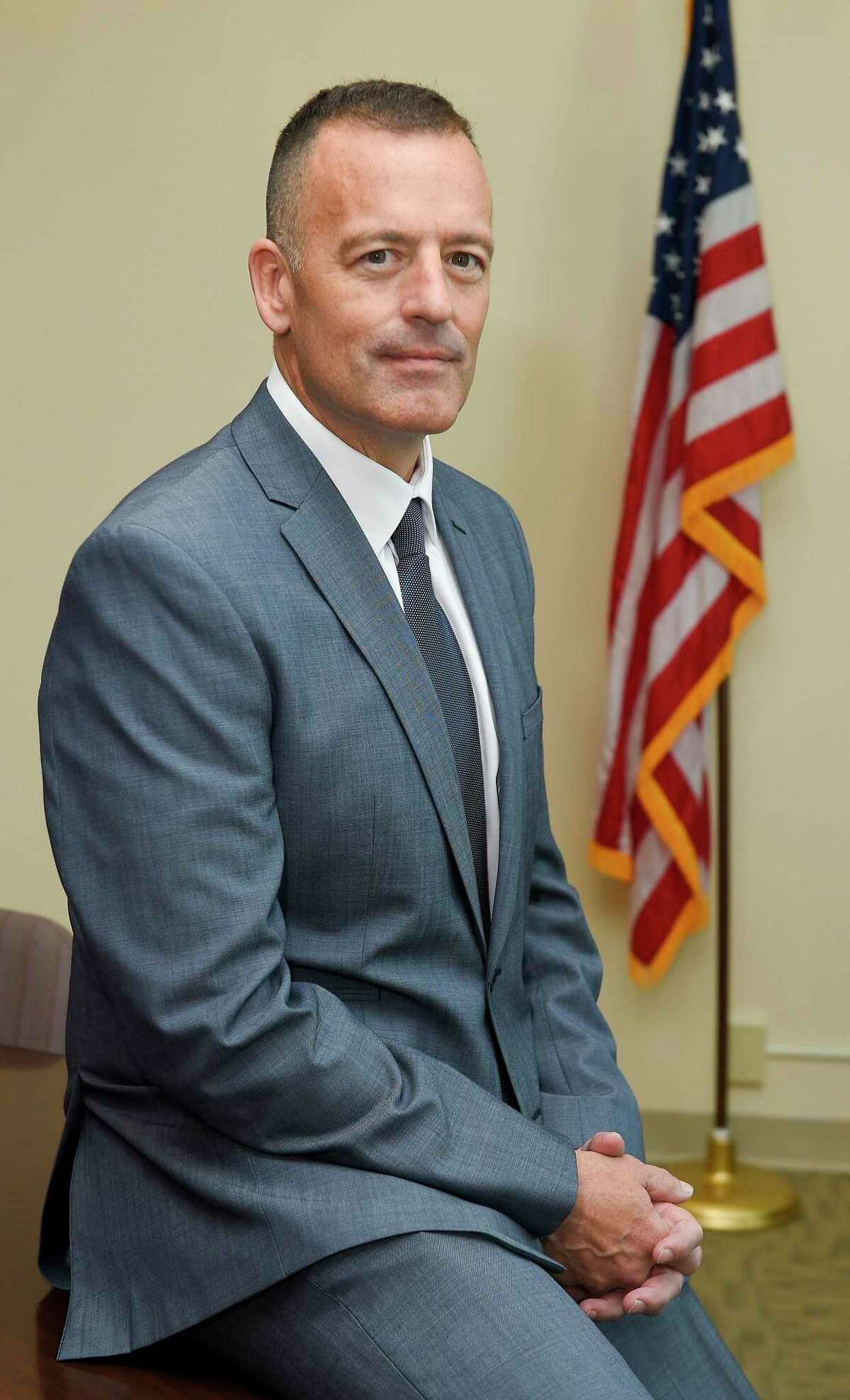 Chris Murtha is photograph on June 12, 2019 in Stamford, Connecticut. Mayor David Martin named Murtha, as the new police chief to replace the retiring Jon Fontneau. Murtha, 53, has been deputy chief of Maryland's Prince George's County, where he has served for the last 20 years. He will become Stamford's 16th police chief.