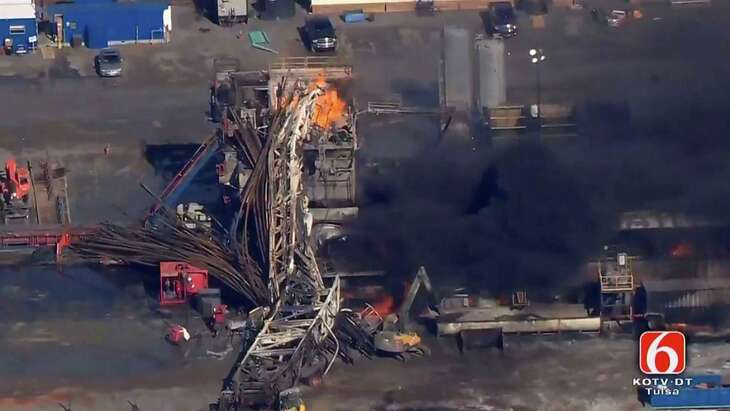 In this photo provided from a frame grab from Tulsa's KOTV/NewsOn6.com, fires burn at an eastern Oklahoma drilling rig near Quinton, Okla., Monday Jan. 22, 2018. The accident involving a Houston drilling company was the industry's deadliest since the Deepwater Horizon tragedy 10 years ago, but the regulatory response to the Oklahoma explosion has been far less urgent.