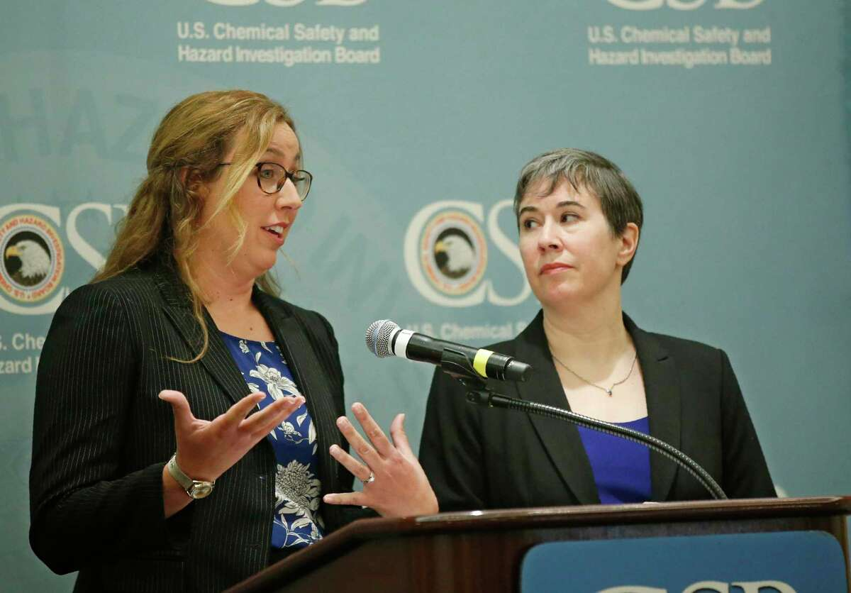 Kristen Kulinowski, right, interim executive director of the U.S. Chemical Safety Board, looks on as investigator Lauren Grim, left, answers a question on their report on the blowout that fatally injured five workers at the Pryor Trust gas well located in Pittsburgh County, Okla., during a news conference in June. The accident involving a Houston drilling company was the industry's deadliest since the Deepwater Horizon tragedy 10 years ago, but the regulatroy response to the Oklahoma explosion has been far less urgent.