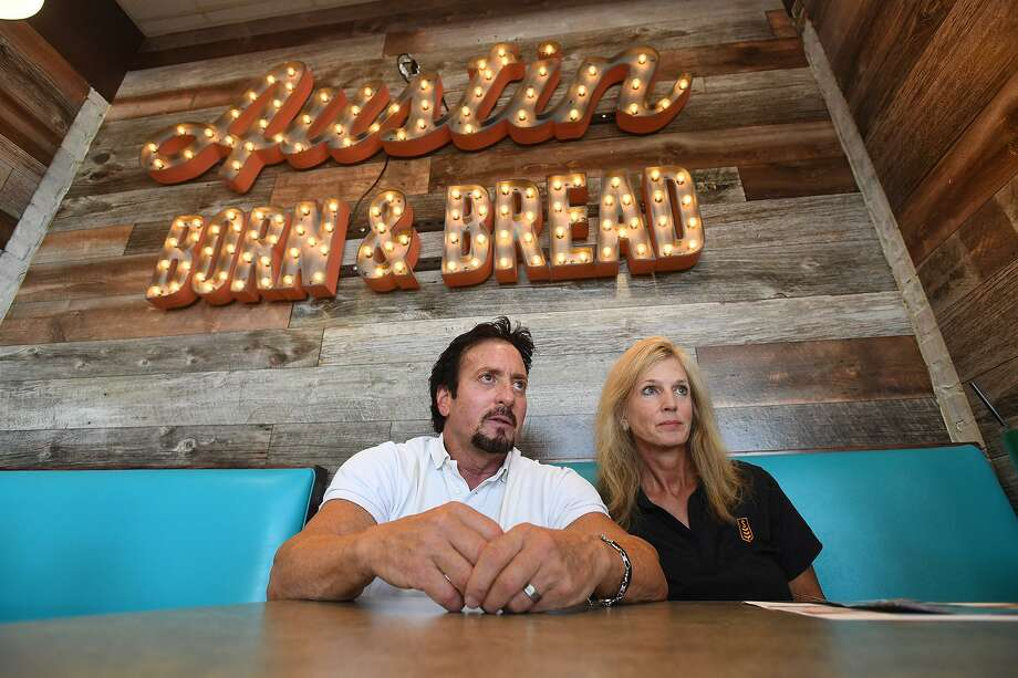 John Walker and Julie Walker, franchise owners of Beaumont's Schlotzsky's talk Monday about the eatery's recent redesign that is expected to give customers a more Austin feel while dining.  Photo taken Monday, 6/3/19 Photo: Guiseppe Barranco/The Enterprise, Photo Editor / Guiseppe Barranco ©