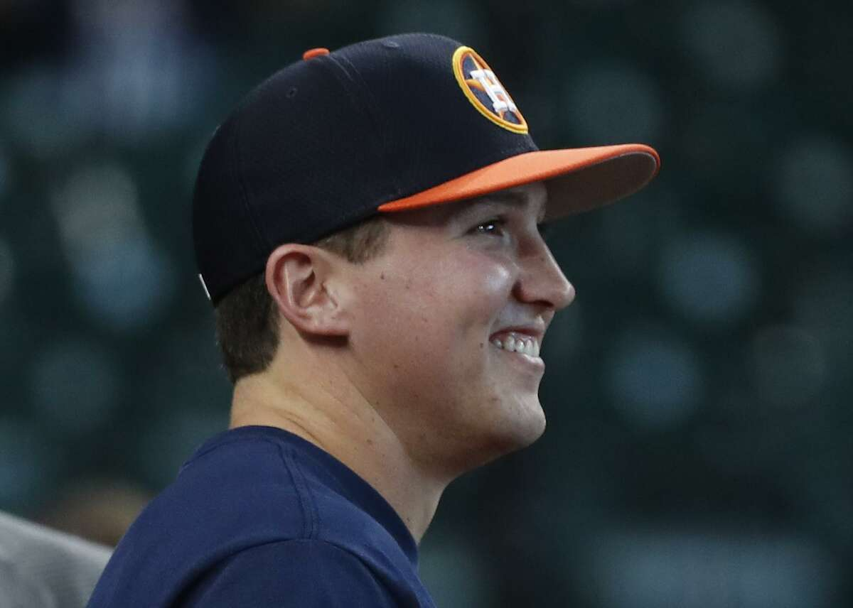 First-round draft pick Korey Lee takes in the scene during Astros batting practice Wednesday night at Minute Maid Park.