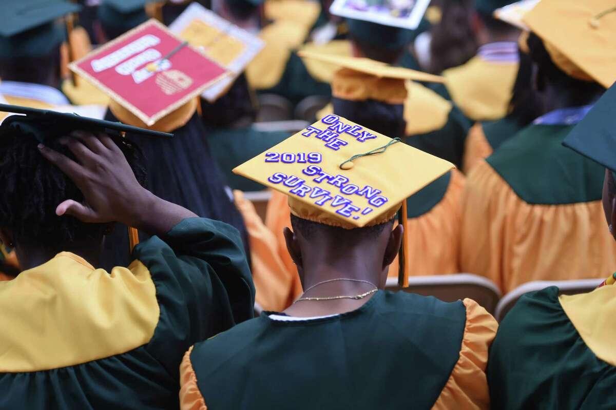 Scenes from the Hamden High School commencement on June 12, 2019.