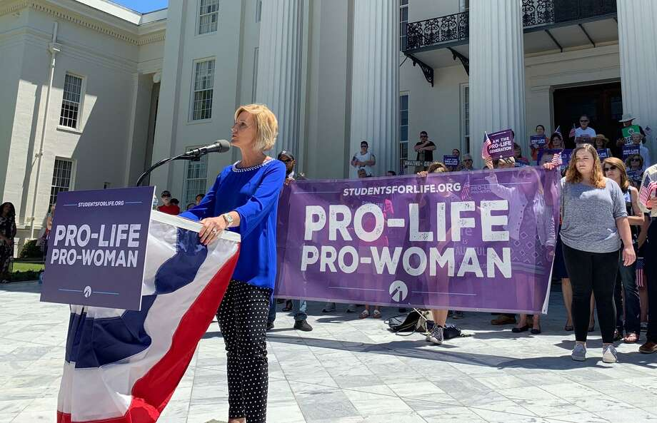 Beck Gerritson, president of Eagle Forum of Alabama, speaks at an anti-abortion rally outside the Capitol in Montgomery, Ala., on Wednesday, May 22, 2019. Groups that oppose abortion held the event to thank lawmakers who supported passage of a law that would virtually outlaw abortion in the state. (AP Photo/Kim Chandler) Photo: Kim Chandler, STF / Associated Press / Copyright 2019 The Associated Press. All rights reserved.
