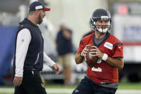 Houston Texans quarterback A.J. McCarron drops back to pass during minicamp at The Methodist Training Center on Tuesday, June 11, 2019, in Houston.