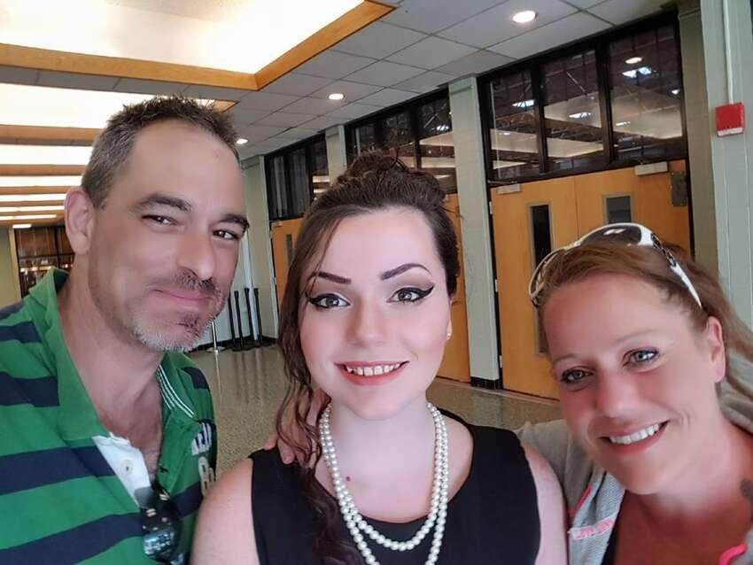 Emily Tuck-Fydenkevez, middle, with her parents Greg Tuck and Susan Fydenkevez. Emily, 19 of Middleburgh, was killed in an alleged drunken-driving crash in Renssealerville on June 9, 2019.