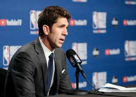 Bob Myers Golden State Warriors' president of basketball operations speaks about Kevin Durant's injury after game 5 of the NBA Finals between the Golden State Warriors and the Toronto Raptors at Scotiabank Arena on Tuesday, June 11, 2019 in Toronto, Ontario, Canada.