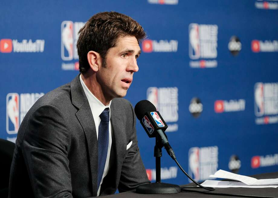 Golden State Warriors president of basketball operations Bob Myers addressed the trade rumors surrounding All-Star guard D'Angelo Russell while speaking to the media on Monday. Photo: Yader Guzman / The Chronicle