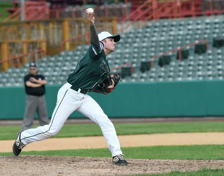 Shenendehowa pitcher Evan Jones (3) delivers a pitch against Saratoga during a Section II Class AA Boys' high school semifinal baseball game Thursday, May 30, 2019, in Troy, N.Y. Shenendehowa won 3-2. (Hans Pennink / Special to the Times Union).