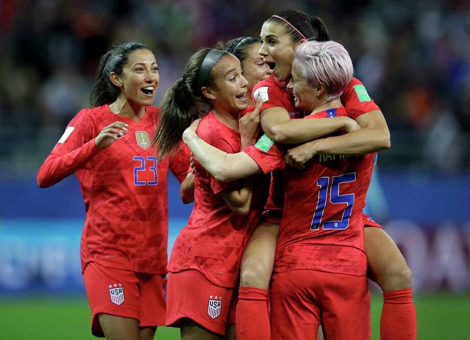 United States' Alex Morgan, second right, celebrates after scoring her side's 12th goal during the Women's World Cup Group F soccer match between United States and Thailand at the Stade Auguste-Delaune in Reims, France, Tuesday, June 11, 2019. Morgan scored five goals during the match. (AP Photo/Alessandra Tarantino) Photo: Alessandra Tarantino / Copyright 2019 The Associated Press. All rights reserved