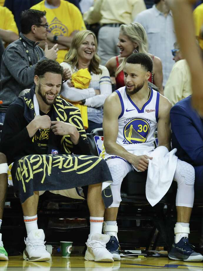 Golden State Warriors Klay Thompson and Stephen Curry are seen in the fourth quarter during game 1 of the Western Conference Finals between the Golden State Warriors and the Portland Trail Blazers at Oracle Arena on Tuesday, May 14, 2019 in Oakland, Calif. Thompson had an interesting take on whether or not Kevin Durant is considered a Splash Brother when he was asked about ahead of Game 6 of the NBA Finals. Curry just used the occasion to joke around.