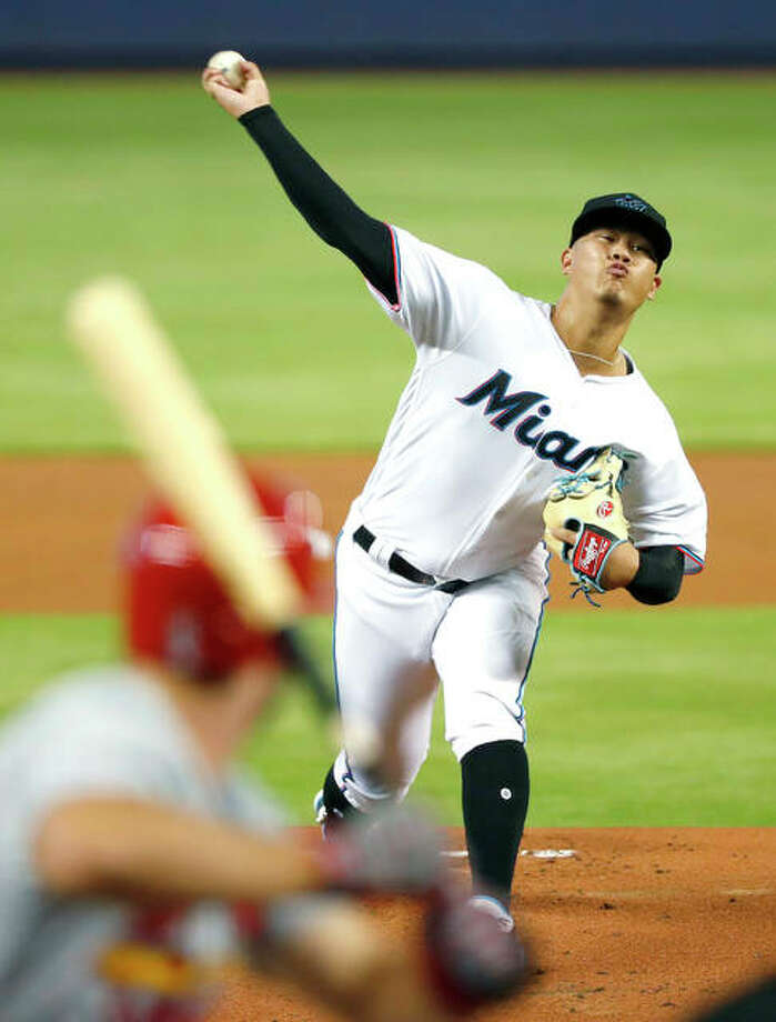 Marlins pitcher Jordan Yamamoto delivers to the Cardinals' Paul DeJong during Wednesday night's in Miami. Photo: AP Photo