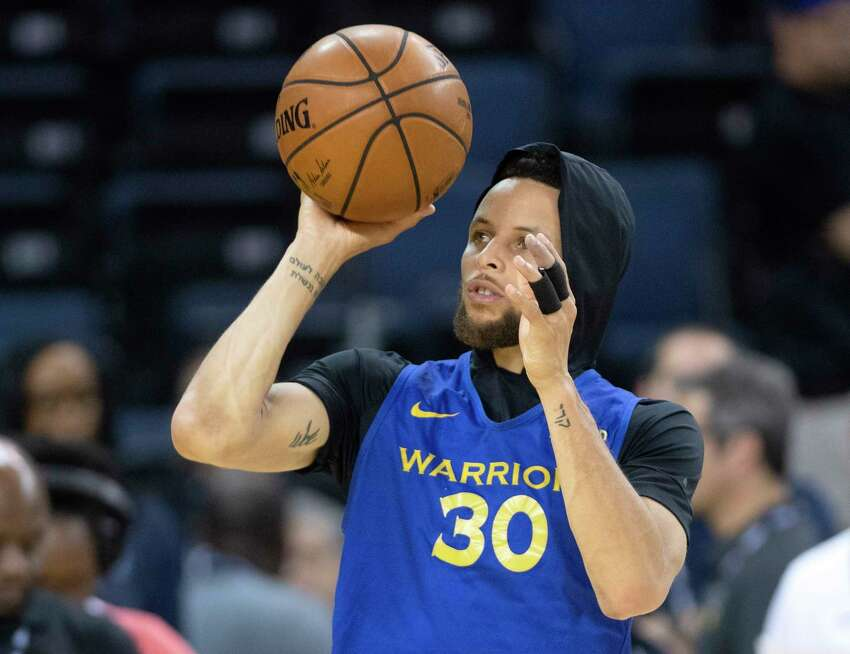 Golden State Warriors' Stephen Curry shoots at practice for the NBA Finals in Oakland on Wednesday, June 12, 2019. The Warriors are scheduled to play the Toronto Raptors in Game 6 of basketball's NBA Finals on Thursday. (Frank Gunn/The Canadian Press via AP)