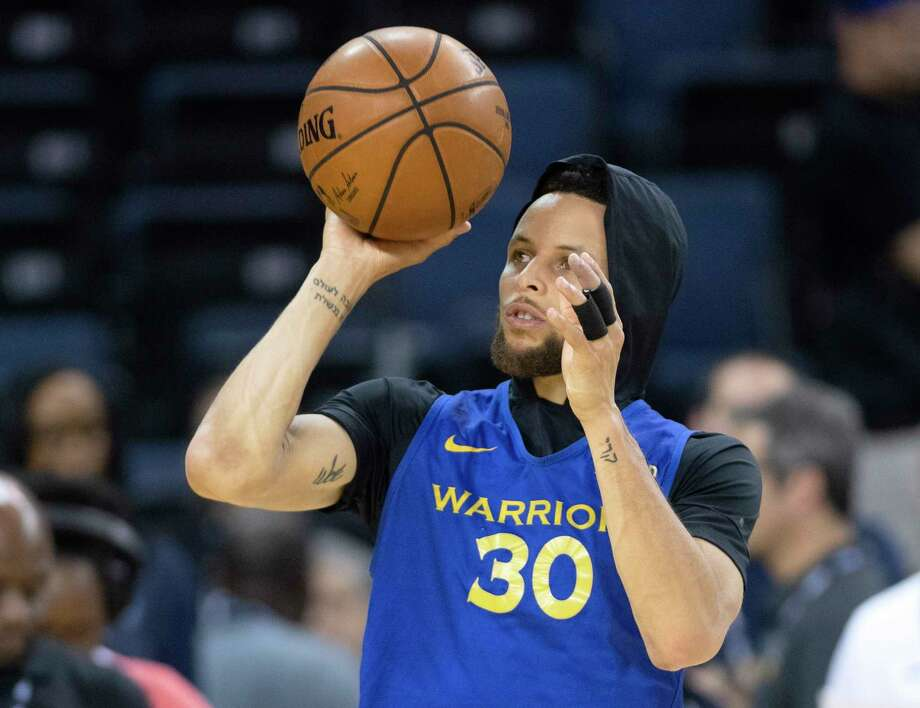Golden State Warriors' Stephen Curry shoots at practice for the NBA Finals in Oakland on Wednesday, June 12, 2019. The Warriors are scheduled to play the Toronto Raptors in Game 6 of basketball's NBA Finals on Thursday. (Frank Gunn/The Canadian Press via AP) Photo: Frank Gunn / The Canadian Press