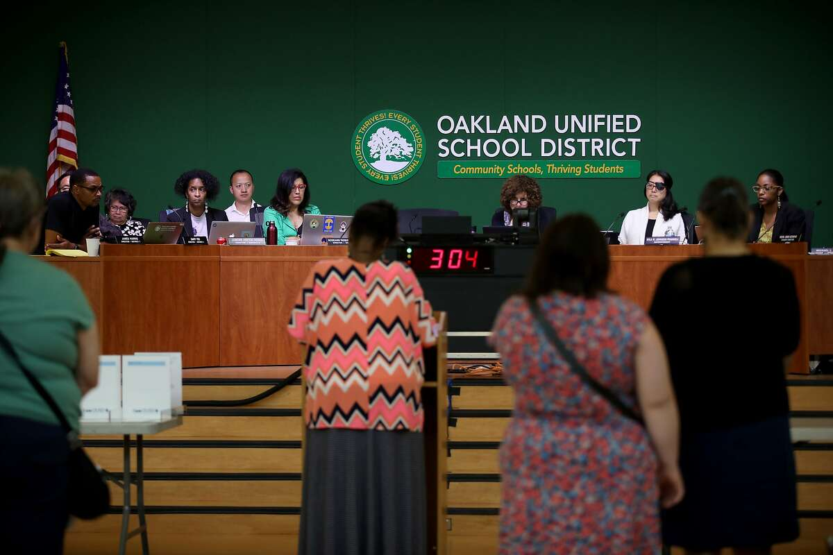 This file photo shows Oakland Unified School District board members attending a meeting in the Great Room at the LaEscuelita Center in Oakland, Calif., on Wednesday, June 12, 2019.