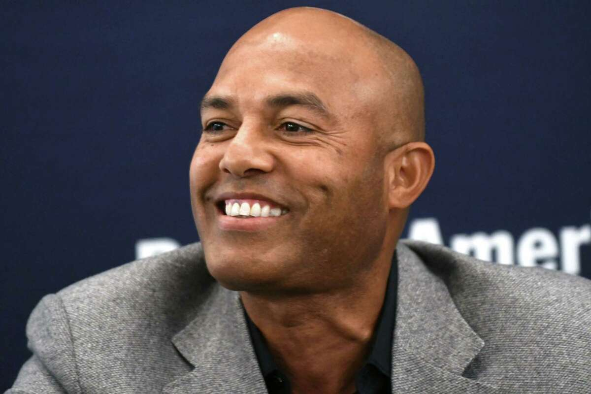 Former New York Yankee Mariano Rivera answers questions during an interviewed with Times Union sports editor Leif Skodnick at a Bank of America event at the Renaissance Hotel on Wednesday, Oct 18, 2017 in Albany, N.Y. (Lori Van Buren / Times Union)