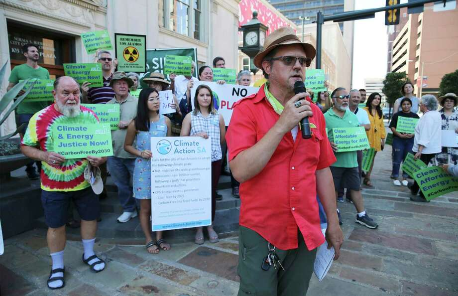 Sierra Club's Greg Harman kicks off a rally with several activism and environmental groups on the steps of Municipal Plaza, June 12. CPS's low energy score has discouraged a reader who thinks the energy company should work faster to improve it. Photo: Kin Man Hui /Staff Photographer / ©2019 San Antonio Express-News