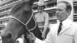 From the June 13, 1969, Houston Chronicle: Dr. Denton A. Cooley shows off a Tennessee walking horse, his fee for open heart surgery on 23-month-old Kinsey Byam of Sargent, Neb., May 21. The girl has since returned home. Dr. Robert Westbrook, the family physician and a friend of Cooley, donated the mare when the family learned it was not covered by insurance. Atop the horse is Sharon Rau, a registered nurse at St. Luke's Episcopal Hospital, where Cooley did the surgery.