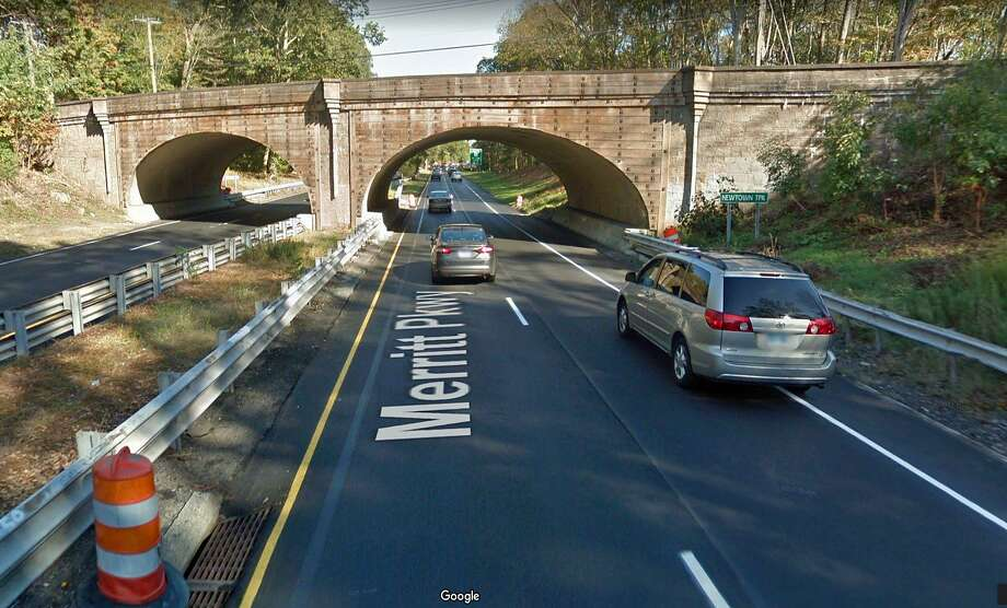 The Newtown Turnpike bridge over the Merritt Parkway in Westport will be closed from the end of June through August, the state Department of Transportation has announced. The closure is needed to allow construction activities associated with the rehabilitation of the 80-year-old bridge. The bridge will close on Monday, June 24 and reopen on Aug. 27, 2019. Photo: Google Street View Image