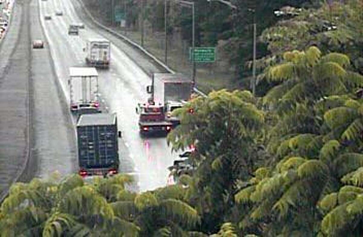 An accident involving a tractor-trailer and another vehicle has closed two southbound lanes of I-95 in Westport on Thursday, June 13, 2019. The right and center lanes are closed between Exits 17 in Westport and 16 in Norwalk.