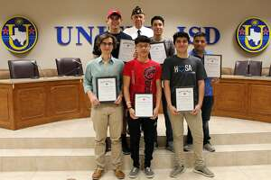Eight UISD students participated in the American Legion Boys State conference held at the University of Texas. They include (bottom row) Ricardo Mendez, Raul Sanchez and Miguel Villanueva; (middle row) Nolan Vallone, Diego Lizarraga and Alejandro Alarcon; and (not pictured) Austin Munson and Dylan Minton. Also shown (top row) is Lt. Cdr. Douglas M. Alford.